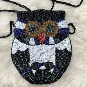 Vintage Beaded Owl Crossbody Purse